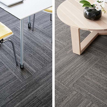 Monn Bureau is a highly textured structured loop-pile, loose-lay carpet tile with a modern linear motif. The dynamic linear design allows for a variety of different laying patterns for a contemporary look. Compared to laminates and hard flooring systems, Bureau provides superior comfort and sound insulation.
