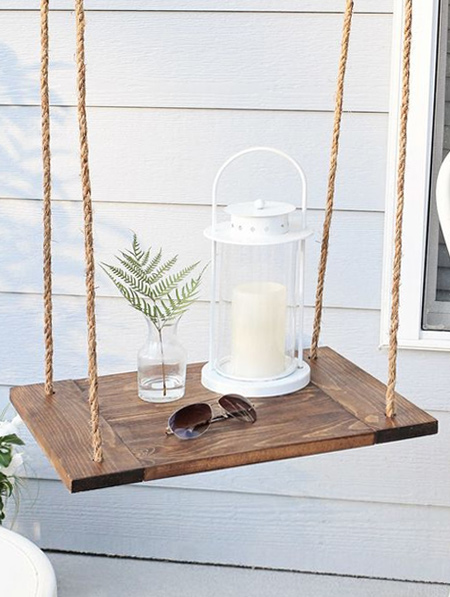 Just as handy outdoors... Make hanging tables for a patio or deck.