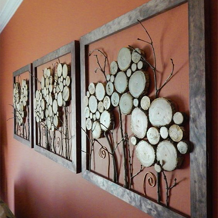 Using wood slices to create your own wall art is a fun and creative way to repurpose what normally gets thrown away. You will find plenty of ideas on the Internet if you don't have an idea to start with.