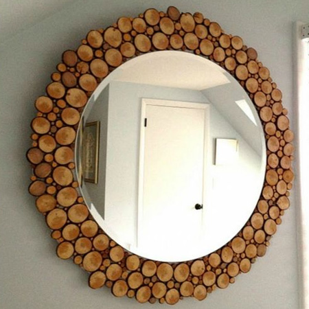 mount wood slices onto a backing board as a unique surround for a mirror.