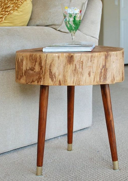wood slice table with wooden legs