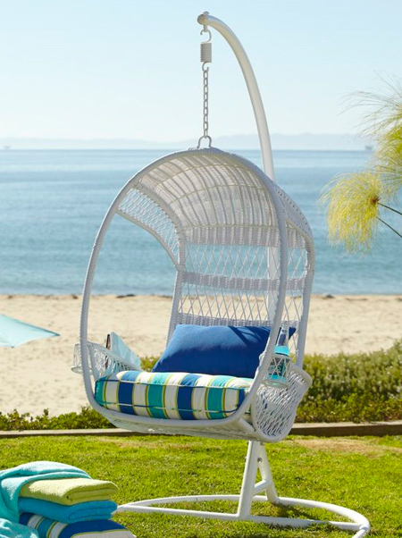 With it's beautiful curves, a hanging chair instantly becomes a focal point or conversation piece in any outdoor setting. These comfortable chairs are the best place to curl up on a Sunday afternoon and while away the hours with a good book and a glass of wine.