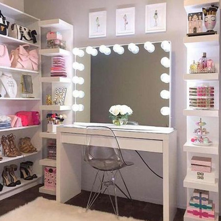 Take a simple desk and transform it into the perfect makeover vanity for a bedroom or walk-in closet.