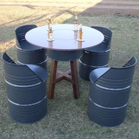 recycle oil barrels into outdoor furniture