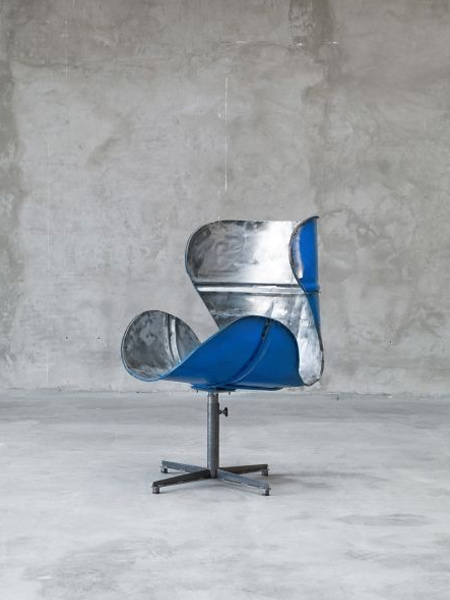 designer chair from recycled oil barrel