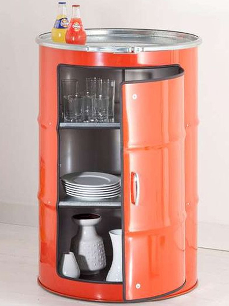 Recycling oil barrels into storage cabinets