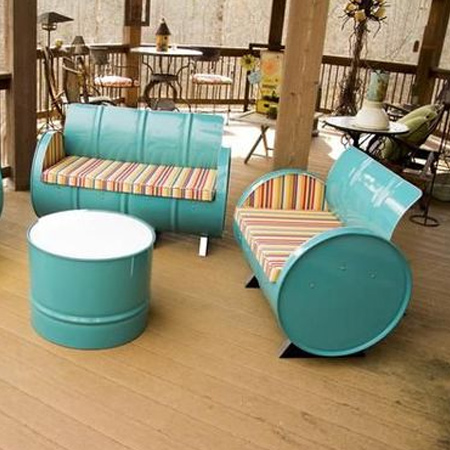 recycled oil barrels outdoor furniture