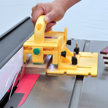 Just added to the Tools4Wood range, the MicroJig Gripper is the first tool that grips and holds both side of your work piece during the ripping process. Unlike using a push stick or block, the MicroJig Gripper maintains balanced pressure on the piece as it passes through and beyond the blade - holding a parallel, forward direction with the blade while retaining pressure against the rip fence.