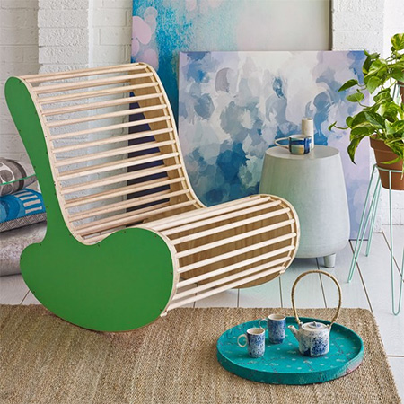 This is not your granny's rocking chair - this rocking chair is a modern take on an old classic and is ideal for a nursery, playroom, or for relaxing in the den.