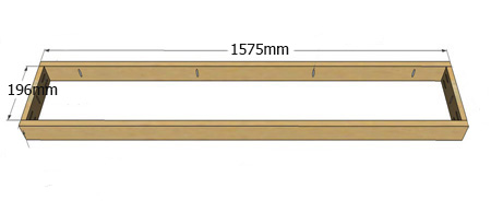 3. Cut the rail to the desired length (ours is 1360mm) and drill [2] pocketholes at each end.