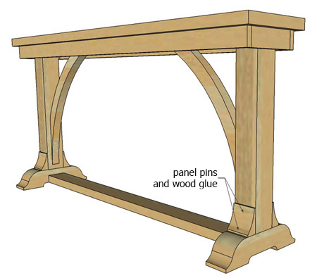 7. Cut the curved arches from the remaining laminated pine shelving. Draw these onto the board and cut out with a bandsaw or jigsaw. Sand smooth before attaching to the frame with wood glue and panel pins.