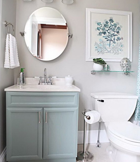 Paint is your partner for a quick change. Sometimes, all it takes is a coat or two of paint to freshen up a dated bathroom. Today's paint is versatile enough for use on walls and furniture, so don't forget to give the bathroom vanity a makeover as well.