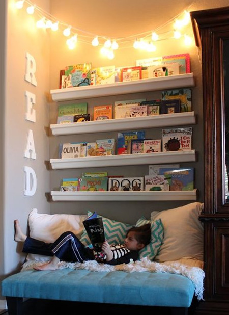 Plastic gutters can easily serve as quick and easy shelving for a reading nook or corner. Mount securely onto a wall and fill with a collection of your child's favourite reads.