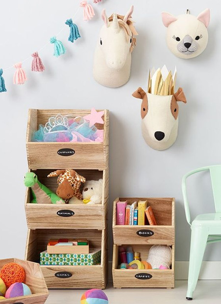 Use pine or plywood to make stackable storage boxes for toys and books. The nice thing about storage boxes is that they can easily be moved around and re-purposed as your child gets older.