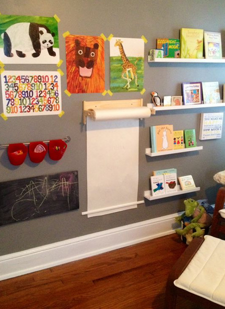For toddlers, an activity wall that incorporates a reading corners will provide hours of activity. Make sure that everthing is securely mounted onto the wall. A paper towel holder makes a wonderful art station.