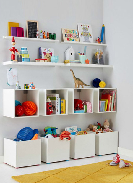 For the older child, these storage cubbies offer plenty of storage for lots of small toys, as well as book ledges for a reading corner. Find instructions here to make the storage cubbies.