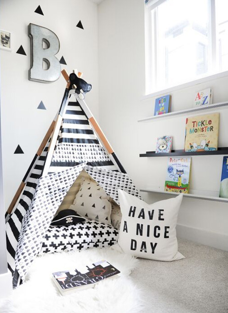 Encourage your child to read and to love books by creating a wonderful reading corner where they will love spending time. There are so many ways to dress up a reading corner - try making this teepee in patterned or colourful fabrics for a hideaway place to snuggle with a book.