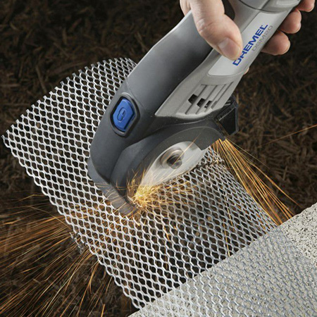 Use the Dremel DSM20 to cut mild steel and aluminium