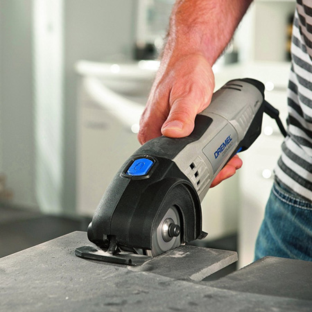 The Dremel DMS20 is supplied with a selection of cutting blades for tile, brick and wood. The compact size makes it portable and easy to use for all your tiling projects
