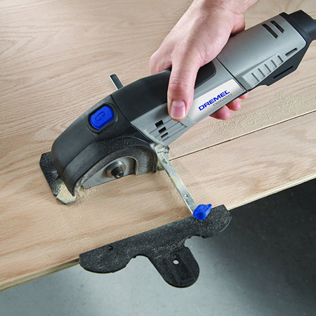 It's small and lightweight, but the motor is powerful enough to cut through sheets or board, plywood or pine with ease. There's no complicated process for setting it up; simply clamp down a straight edge and cut.