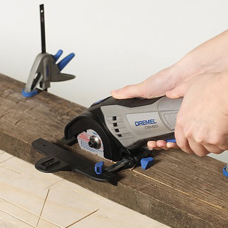 If you like using reclaimed wood, you'll not that this is something you can't have cut to size. You can cut with a jigsaw, but using a Dremel DSM20 allows you to cut straight along the width or length - without fuss.