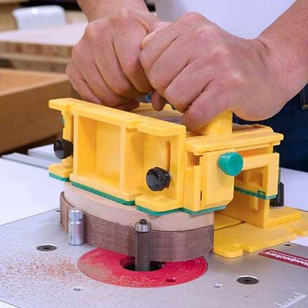 The MicroJig Gripper can be offset to accommodate small, irregular pieces on a router table.