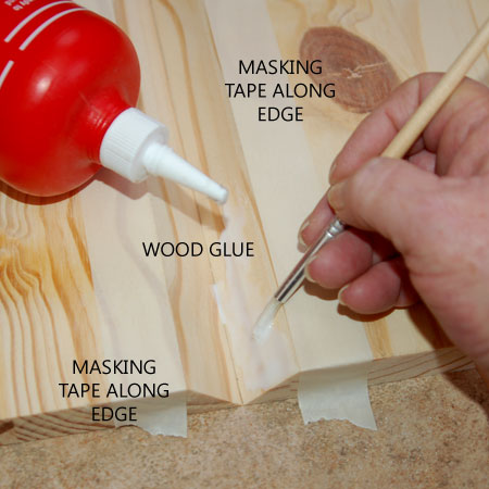 GOOD TO KNOW: A strip of masking tape along the edge will protect the wood from spoilage by wood glue.