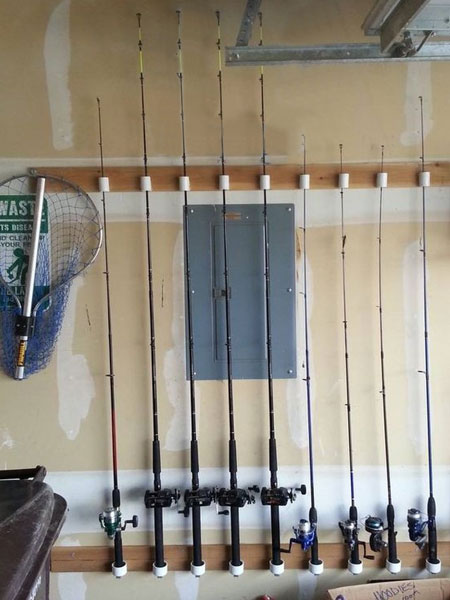 All types of sports gear, including that huge collection of fishing rods, can be neatly stored out of the way and to be easy to find when needed. PVC pipe is a practical storage option for all types of items, and you can buy PVC pipe at your local Builders and cut to size with a hacksaw.