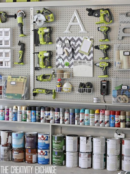 With the garage cleaned out and partially organised, you may even find that you now have space to set up a small workshop for your DIY projects. If you need a place to practise your skills, use pegboards and shelves to store your tools and accessories.
