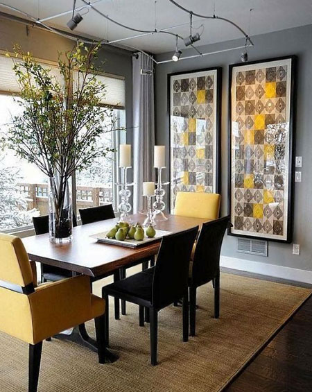 HOME-DZINE - Dining Rooms | In a dining room avoid rugs that may hamper pullout out chairs and preferably one that is easy to keep clean. At a family table where children sit, shop for a natural fibre rug where spills and stains will be easy to remove