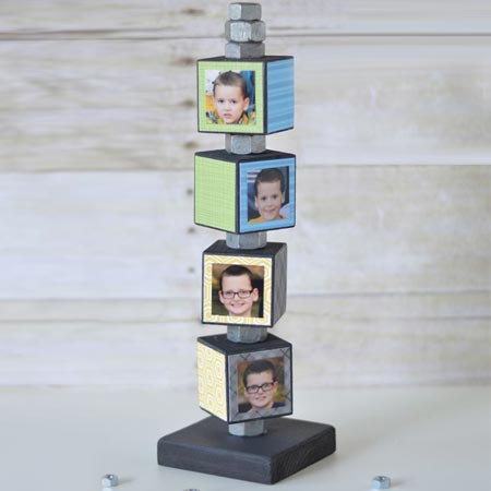 HOME-DZINE | Use smaller blocks of wood to make memory blocks for fathers day.