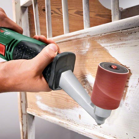 The Bosch PRR 250 ES Sanding Roller is ideally suited to sanding a wide range of projects; from detailed banisters and profiled skirting boards to furniture with pronounced contours. Saving you the hassle of painstakingly re-sanding by hand, special accessories, such as the flap wheel, allow DIY enthusiasts to sand grooves and slots.