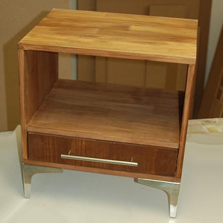 make diy bedside cabinet with laminated pine shelving