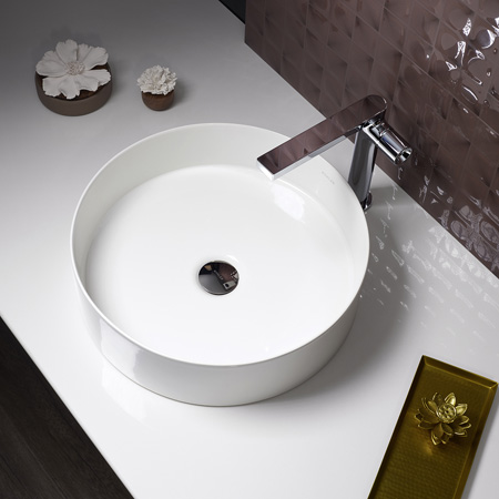Kohler Mica Round or Square Vessel has the thinnest edge has ever produced in a basin.