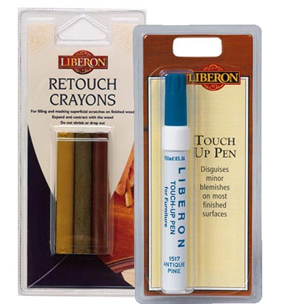 Liberon Retouch Crayons are used for filling and masking superficial scratches in wood and furniture, including nail holes and worm holes.
