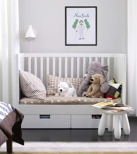 HOME-DZINE | Consider a cot that can be adjusted into a toddler-friendly bed or even a day bed. We recommend purchasing a wooden bed – making it easier to paint and change the colour of the bed to suit your growing child's needs.