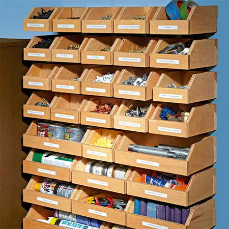 If you're looking for ways to organise your workshop, make storage bins that are mounted on a French cleat hanging system.