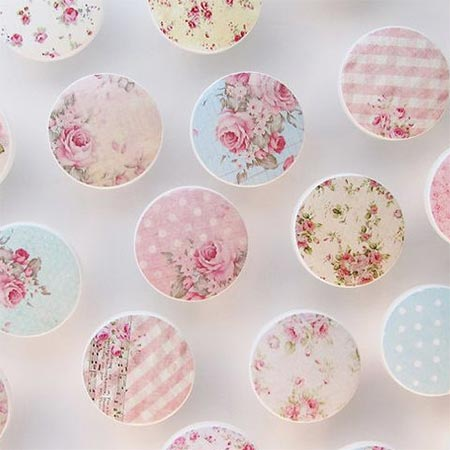 HOME-DZINE | Pine and plastic knobs are an affordable way to dress up or update furniture, but they lack personality. Use fabric, paper or paint to turn plain pine or plastic knobs into wonderful, pretty embellishments for any piece of furniture.