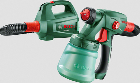 For a professional finish for all your painting projects, the Bosch PFS 2000 is a go-tool spray painting tool. You can use the PFS 2000 to apply wall paints, metal and wood paints - quickly and without effort. The Bosch PFS 2000 can be used with paint, lacquer and oil-based paints.