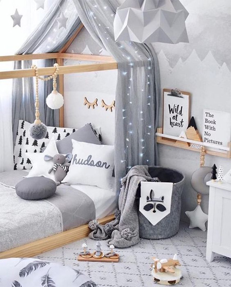 Grey is the new pastel for children's bedrooms. When you want to decorate a gender neutral nursery, or a child's bedroom with a more modern look, grey is definitely the colour to choose!