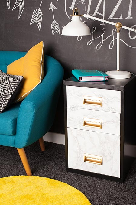 Here's a way to buy a secondhand, steel filing cabinet and put this stylish storage unit to good use in your home office, or even for storage in the home.