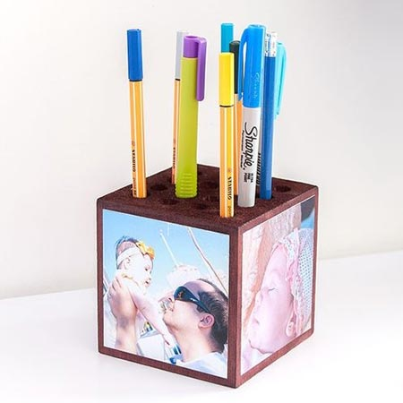 HOME-DZINE | Make a photo memories block and pencil holder with a block of wood. Drill holes in the top of the block, add photos and seal with ModPodge or clear acrylic sealer. Or use smaller blocks to make memory blocks.