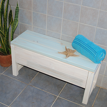 Make a storage bench using laminated pine shelving and pine planks that you will find at your nearest Builders. It's easy to make and will only take an hour or so.