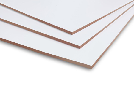 With its white top coat, Evosure Fincote is grainless and knotless and will not crack, split or splinter. It has a high level of resistance to abrasions, scraping, stains and solvents making it ideal for usage as backing boards