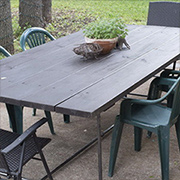 Galvanised pipe garden table
