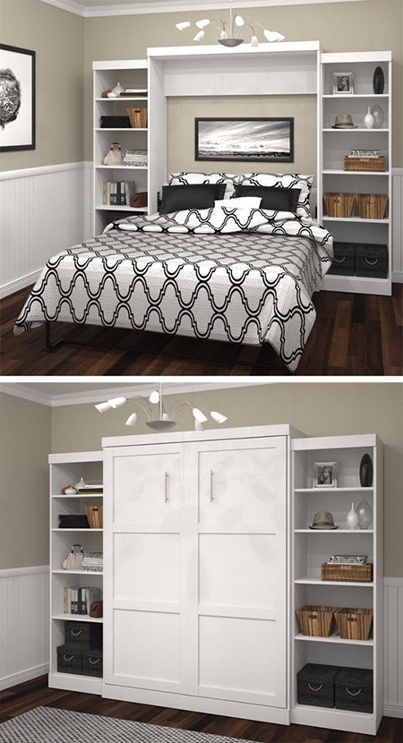 What is a Murphy Bed? The Murphy bed is the perfect solution to a small living area, or for converting a another room into a temporary guest room. These beds fold vertically into the wall or closet, and can easily become part of the decor when you build shelving units or storage around them.