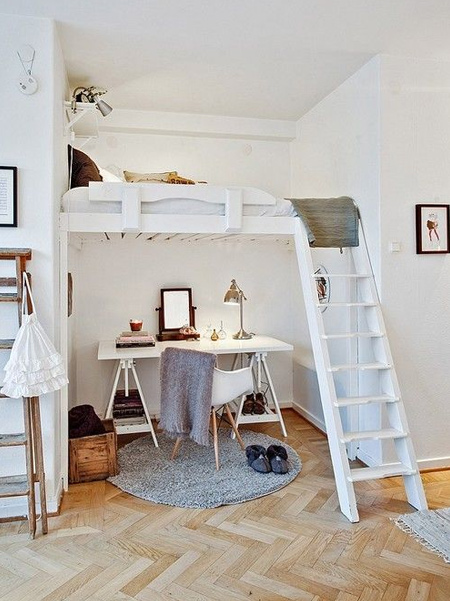 What is a Loft Bed: Loft beds are raised above the ground, to either eye level or higher, to provide space beneath it. These beds are popular in small rooms, to provide either a place to put a desk or sitting area, as well as serving well for storage. Many times these are used in college dorms to free up space for study and relaxation.