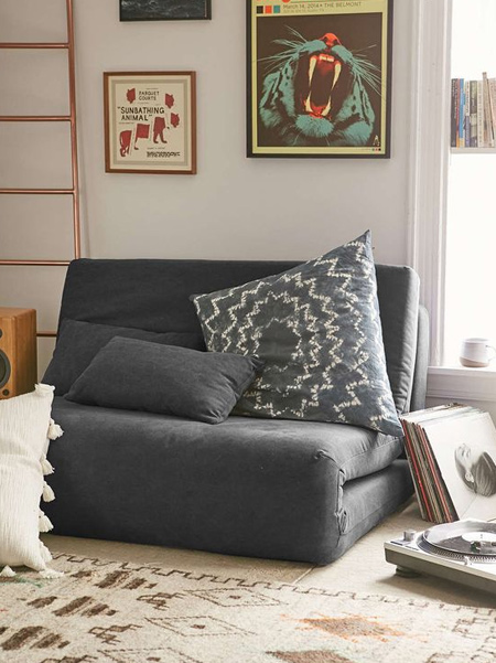 What is a futon: Futons are similar to sofa beds since they 'unfold' to lay flat when you need a bed, but then fold back into a small couch the rest of the time. They are the perfect space saver for small areas, or work well as an addition to an office space or work room that doubles as a guest room when needed.