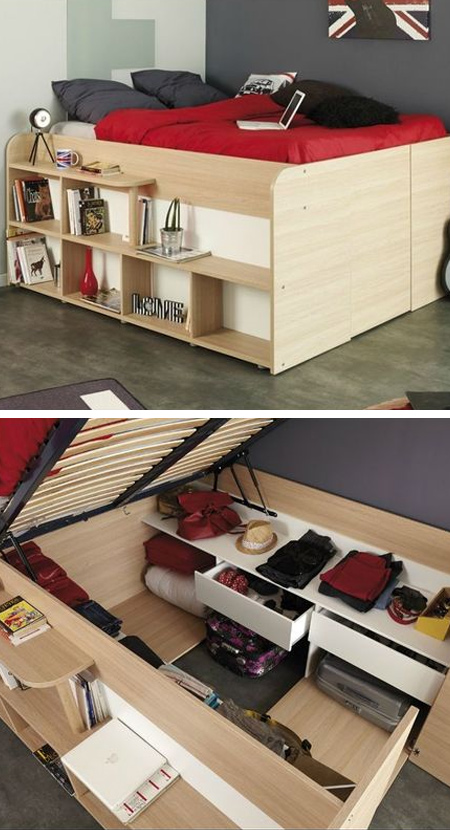 What is a storage bed: Beds that lift up to expose storage areas underneath are increasing in popularity with small apartment dwellers. Custom designs can include racks for shoe organization, drawers, and even hanging racks to help keep your clothes organized!
