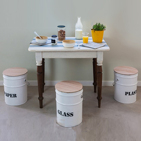 Upcycle empty paint cans into dual purpose stools that can also be used as recycling bins.